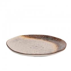 Plato postre stoneware bicolor irregular