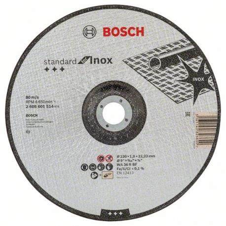 Disco de corte recto bosch 230 x 1,9 mm inox rapido