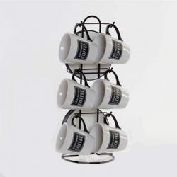 Tazas cafe cortado set 6 u con soporte
