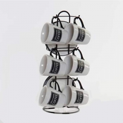 Tazas cafe set 6 u con soporte blanco negro