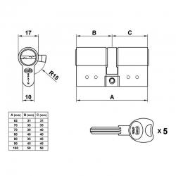 Cilindro de seguridad amig 10000 70mm latonado293950