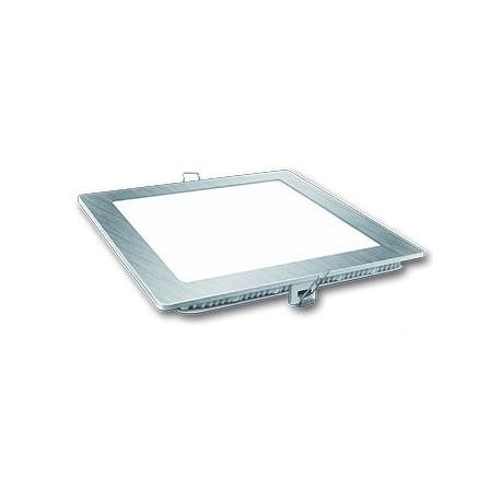 Downlight led cuadrado matel 18w luz fria plata