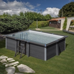 Piscina gre avantgarde kpcor46 composite aspecto madera rectangular 466x326x124 cm