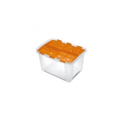 Caja organizadora multiusos home box naranja transparente 25 litros