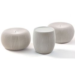 Set urban knit 2 puff y mesa con tapa
