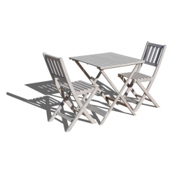 Set mesa madera +2 sillas plegables decape