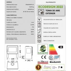 Estufa de leña panadero capri 3v ecodesign306906