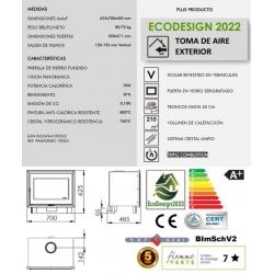 Estufa de leña panadero insert hogar f-720-s ecodesign307088