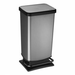 Cubo de basura plastico efecto metal 40 l