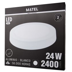 Downlight led superficie redondo matel blanco 31cm 24w 2400lm fria309443