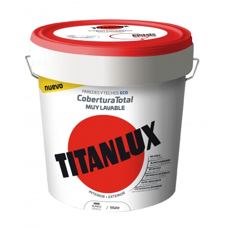 Pintura lavable cobertura total titanlux 15 litros blanco