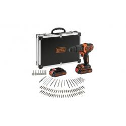 Taladro bateria percutor black & decker 18 v 2 baterias 1.5 ah + 80 accesorios