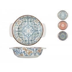 Fuente horno porcelana h&h redonda multidecorado