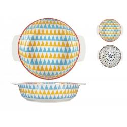 Fuente horno porcelana h&h redonda multidecorado 21 cm