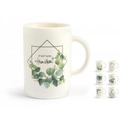 Tazon mug porcelana new bone china hojas