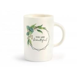 Tazon mug porcelana new bone china hojas320485