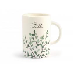 Tazon mug porcelana new bone china hojas320487