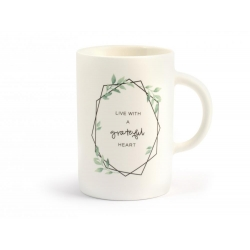 Tazon mug porcelana new bone china hojas320488