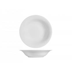 Plato hondo porcelana h&h grabado blanco