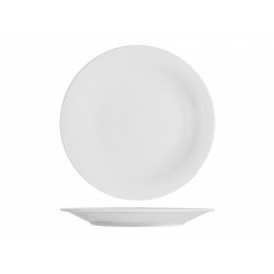 Plato presentacion porcelana h&h grabado blanco