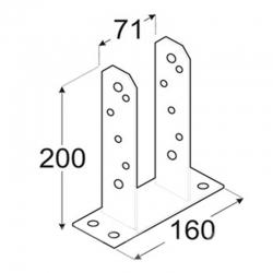 Anclaje poste non forma tt 71 x 200 x 160 mm