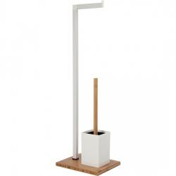 Portarrollos baño de pie con escobillero bambu blanco