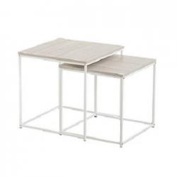 Mesa auxiliar nido mdf metal madera clara