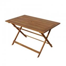 Mesa plegable rectangular 125 x 80 cm madera tropical acacia fsc