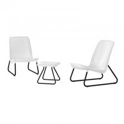 Conjunto jardin set rio ratan 2 sillas con mesita blanco