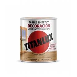 Barniz tinte brillo titan para madera 750 ml castaño