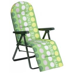 Tumbona plegable relax 5 posiciones acero verde rayas alco 787vor-0036