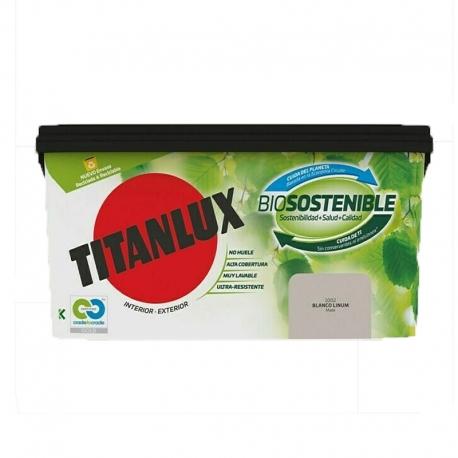 Pintura plastica titanlux biosostenible 4l blanco linum