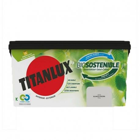 Pintura plastica titanlux biosostenible 4l blanco piedra